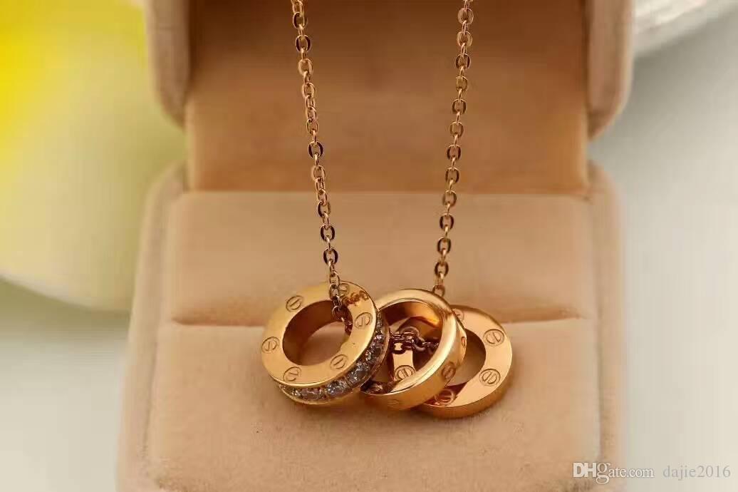 وارتفع الذهب 18k 304 الفولاذ المقاوم للصدأ قلادة للنساء والرجال قلادة لصديقته هدية عيد الأم