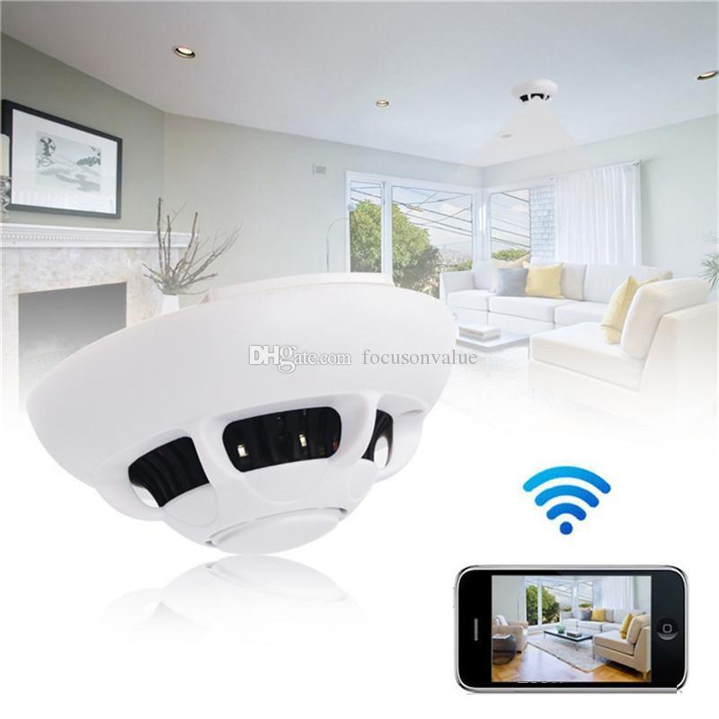 HD 1080P WIFI UFO Smoke Detector camera HD Wireless P2P IP Camera Audio Video Recorder Home Office Security Cameras With retail box