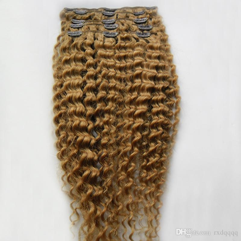 Clip vergini afro crespi biondi capelli biondi afro estensioni 100g Clip nelle estensioni dei capelli umani