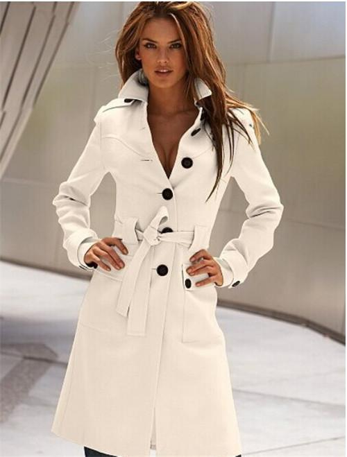 6201bc7e963eb 2019 New Autumn Winter Wool Coat Cashmere Middle Length Women S Outerwear  Coats Slim Sexy Trench Coats Large Size Ladies  Cloth Outwear Overcoat From  ...