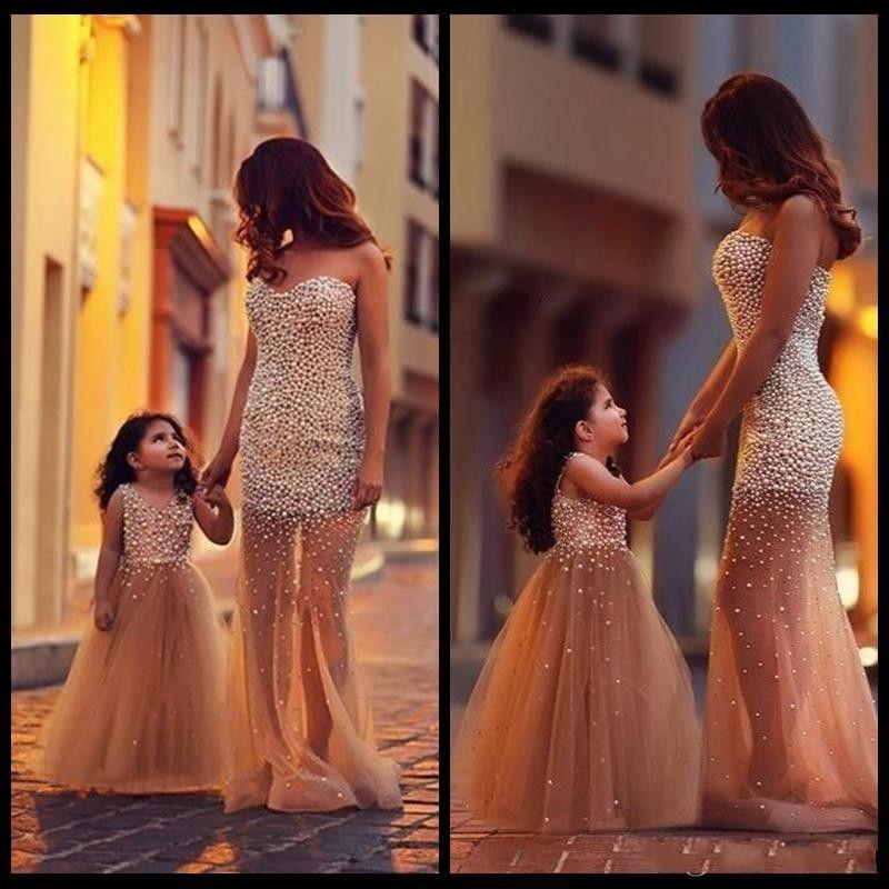 2017 vente chaude mère mère et fille assorties robes sirène tulle perles pearls robe de bal élégant longue de soirée officielle robe de filles