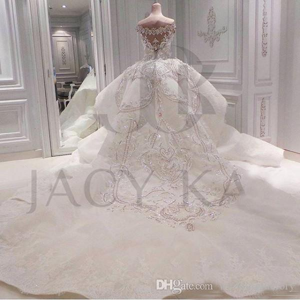 Robes de mariée de cristal de luxe Dubaï Siraid Sparkly Plus Taille Robes nuptiales Sweetheart Off Epaule Perlé Appliques Train détachable