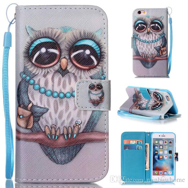 Dream Smile Owl Flower Painted Wallet Stand Cover Leather Case For iphone 6 6S 7 8 Plus Samsung Galaxy S7 Edge J510 J710 A3 A5 2016