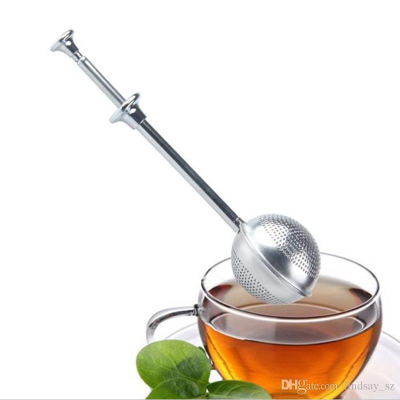 Teesieb-Ball Push-Teesieb ungeheftetes Kräuter Teaspoon Sieb Filter Diffusor Home Kitchen Bar Trinkgefäße Werkzeug-Edelstahl
