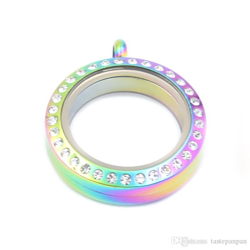 مجوهرات بانبان! 25 ملم جولة الشكل المعيشة المنجد جودة عالية الفولاذ المقاوم للصدأ العائمة المدلاة سحر مع بلورات