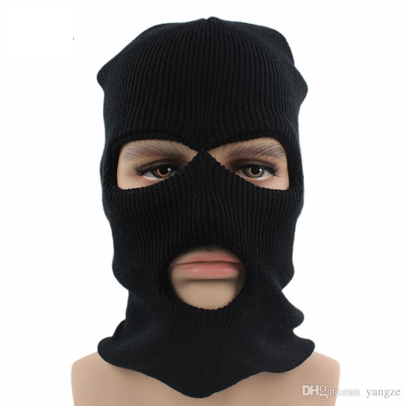 f7aebcfc4a3 Fashion 2016 Unisex Women Man Full Face Cover Ski Mask Three 3 Hole Balaclava  Knit Hat Warm Winter Stretch Snow Mask Beanie Hat Cap Winter Hats Beanie  Hats ...