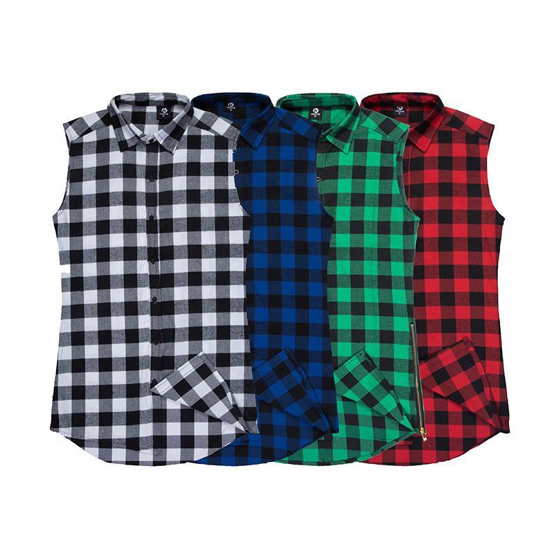 2d48fc8ebf004 Wholesale- Men Casual Side Zipper Plaid Shirt Hip Hop Sleeveless Shirts  Mens Justin Bieber Clothing Fear of God Overhemd Camisa Masculina Shirt Men  Plaid ...