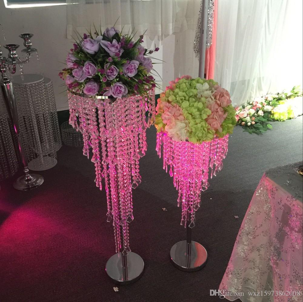 Best Romantic Acrylic Crystal Wedding Centerpiece Table 80cm Tall Decor Road Leads Birthday Party Online Shopping