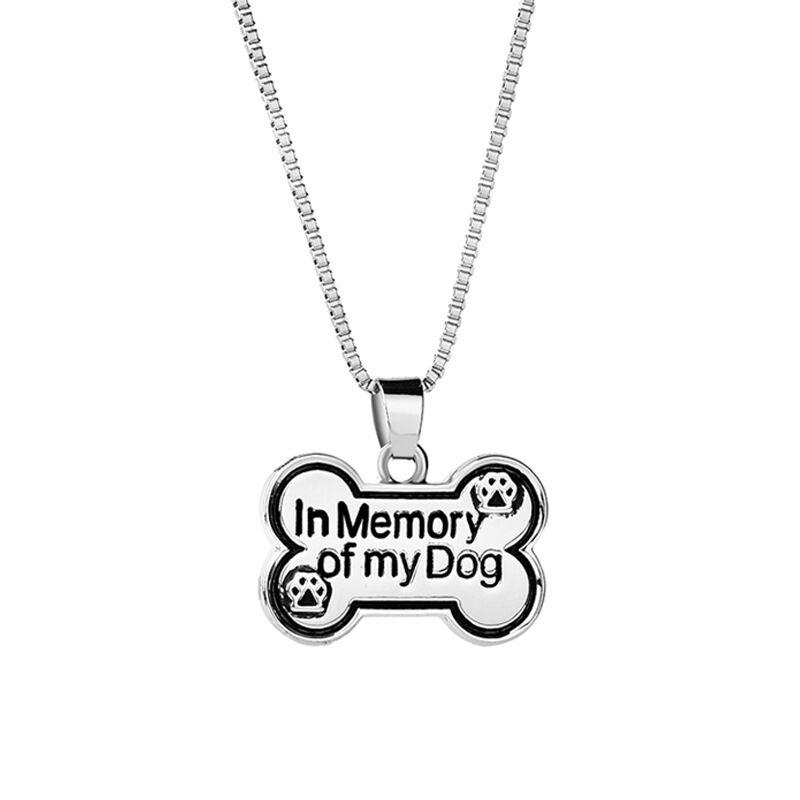 Jewelry Vintage Silver Plated Alloy Statement Lettering In memory of my dog Necklace dog bone Pendant children Necklace 2017 Hot x383