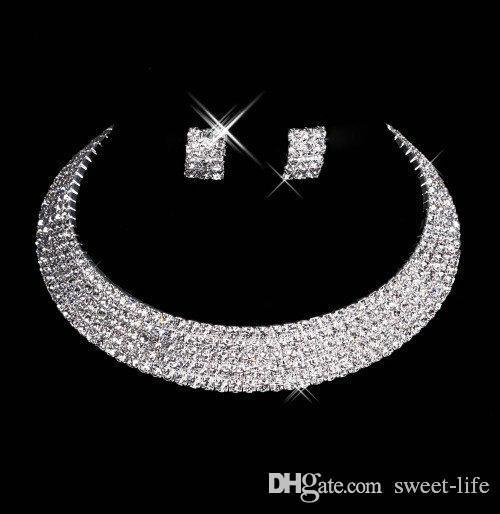 15035 Designer Sexy Men-Made Colar Brincos De Diamante Partido Prom Formal Wedding Jewelry Set Acessórios De Noiva Frete Grátis Em Estoque