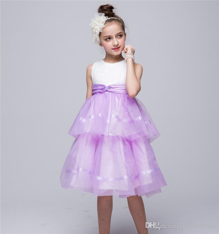 2016 Flower Girl Dresses Princess glitz cupcake pageant dress Tulle High Neck Ball Gown Shot Tiered Custom Kids Wedding Party Dresses12