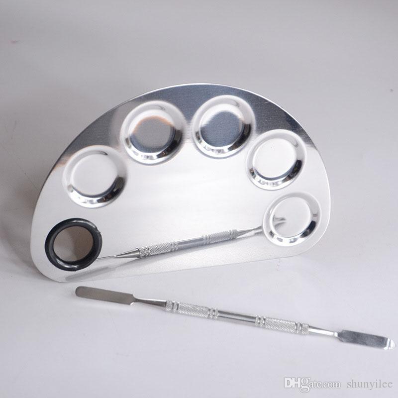 Нержавеющая сталь косметический макияж ногтей гель палитра шпатель пять отверстий форма крем Фонд смешивания инструмент красоты макияж набор ZA2333