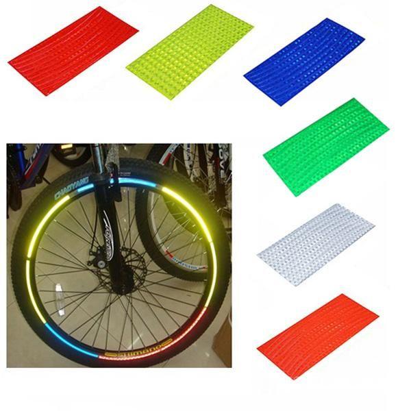 B014 Fluorescent MTB Fahrrad Motorrad Rad Reifen Reifen Reflektierende Aufkleber Streifen Aufkleber Band Sicherheit Silber Mode
