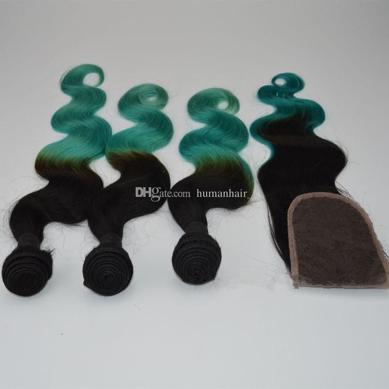 머리카락 번들과 함께 검은 녹색 레이스 폐쇄 2 톤 1B 그린 바디 웨이브 Ombre 인간의 머리 위 클로어스 / lot와 직물