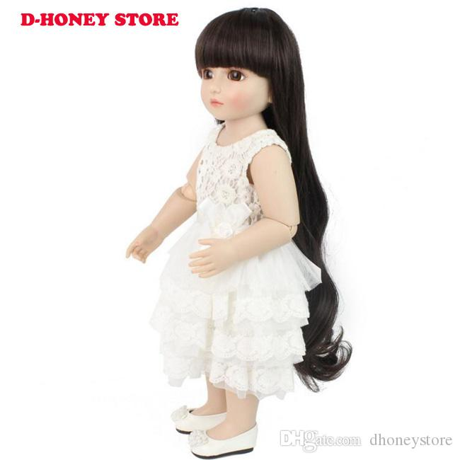 48cm BJD dolls full silicone cute American girl with long hair and lovely kids clothes silicone reborn baby dolls with white dress