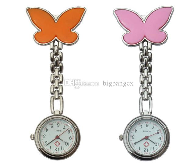 Moda Metal Enfermera Reloj Mariposa Encanto Mujeres Médico Militar Broche Reloj de bolsillo Cruz Roja Reloj de Cuarzo Analógico