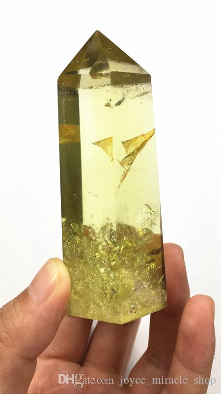 1pcs 140g self Standing 6 Facets Single Point Natural Smokey Citrine Wand Tower with Rainbows Drop Shipping