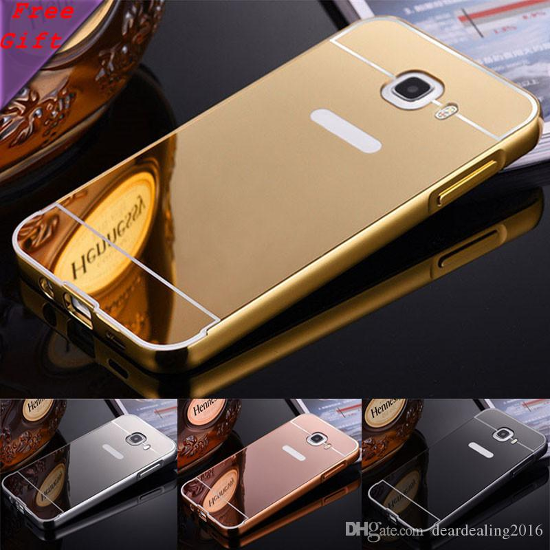 new product c27d3 da6c9 For Samsung Galaxy Case C7 C700 Fashion 2 in 1 Armor Aluminum Metal Frame  Mirror Acrylic Back Cover Case For Samsung C7 Pro