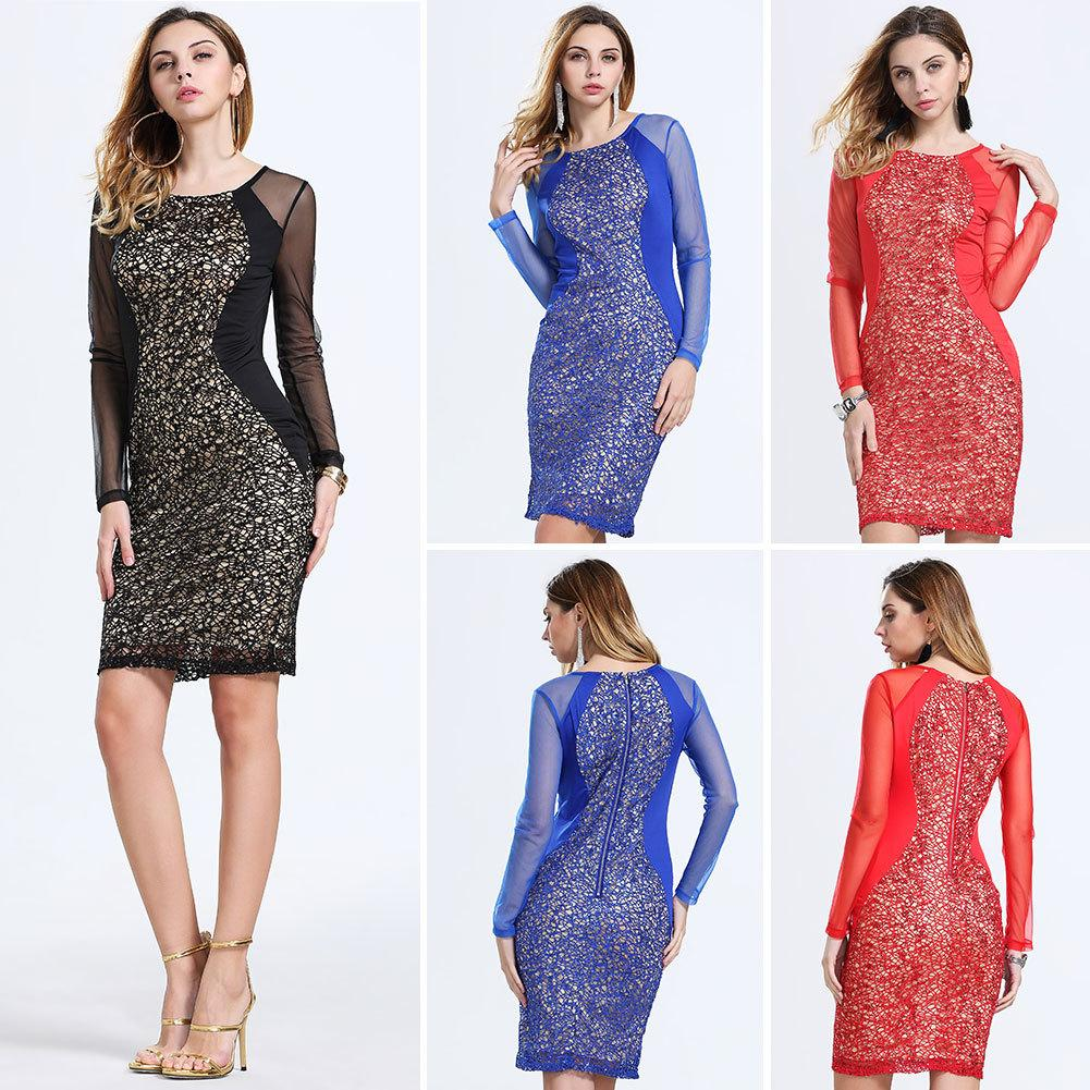 Sexy Lace Badycon Dresses Hollow Out Long Sleeve Crew Neck Slim ... 2b042b885