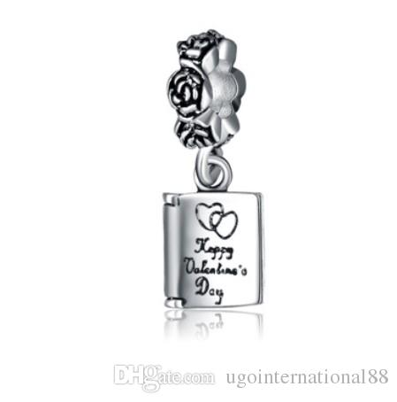 2018 fits pandora bracelets happy valentines day dangle silver charm beads charms for wholesale diy european necklace snake chain bracelet from - Valentines Pandora Charms