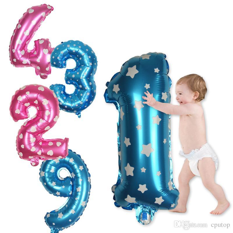 32 pouces Rose Bleu Nombre Feuille Ballons D'anniversaire De Mariage Fête Chiffre 0-9 Décor Fournitures Air Globos Enfants Jouets Figure ballon