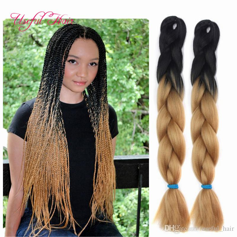 TWO TONE WHOELSALE Jumbo BRAIDS SYNTHETIC braiding hair synthetic two tone color JUMBO BRAIDS extension cheveux 24inch ombre box braids hair
