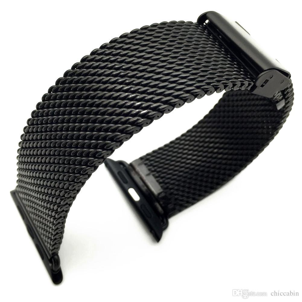 أسود Milanese حلقة الفولاذ المقاوم للصدأ الفرقة حزام حزام لساعات أبل 42mm 38mm