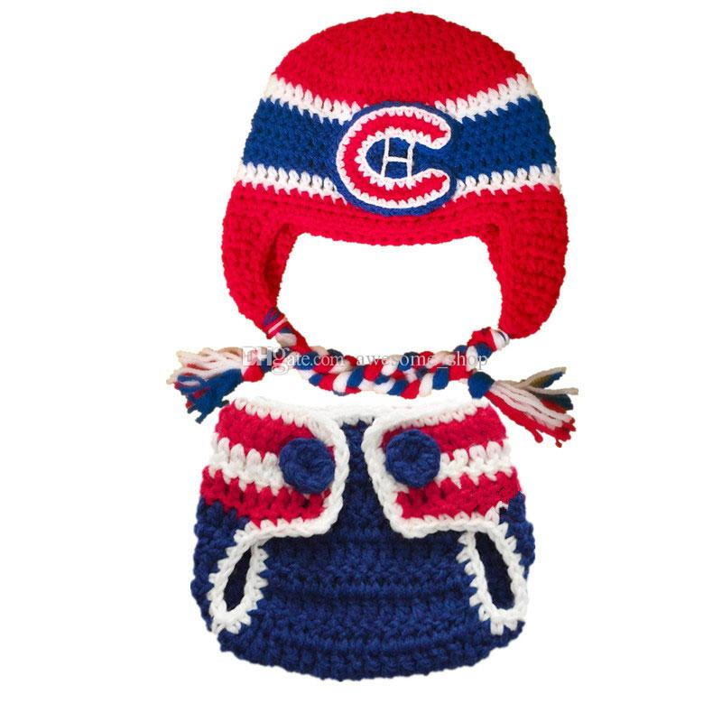 2b18a7a23 Crochet Hockey Baby Outfit Handmade Crochet Baby Boy Girl Hockey Hat and  Diaper Cover Set Infant Toddler Photo Prop Baby Shower Gifts