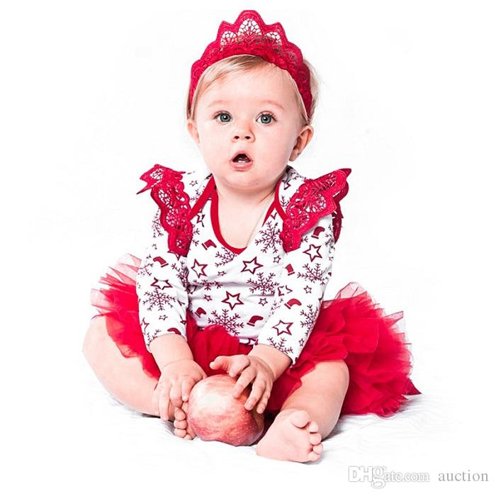 3bb627eee 2019 Christmas Red Snowflake Tutu Dress Headband For Baby Girls Infant  Outfit New Year Party Gift From Auction, $20.11 | DHgate.Com
