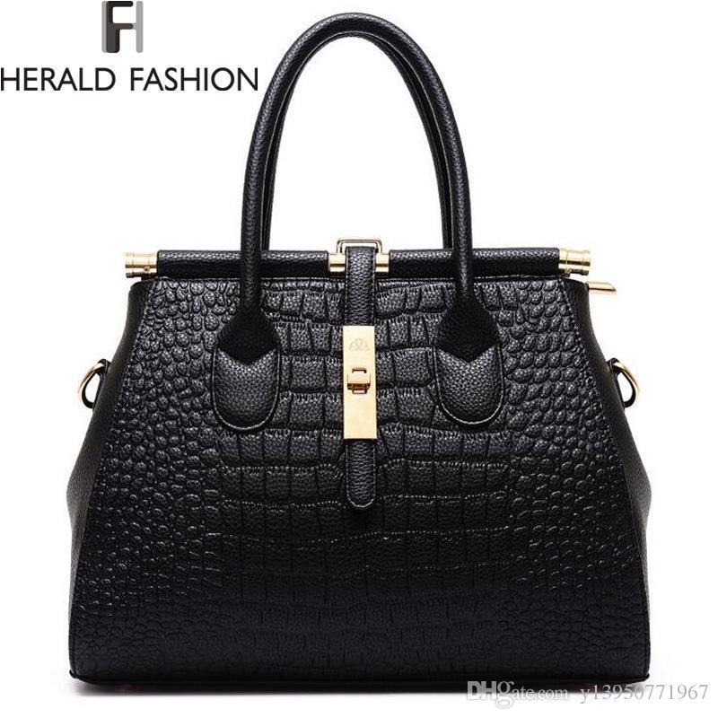 a021d28afd64 Wholesale- Alligator Women Bag Metal Lock Top-handle Bags Messenger ...