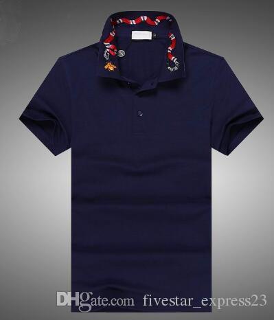 Compre Extranjero 2017 POLO Manga Corta Polo Hombre Camisetas Italia Diseño  Rey Serpiente Abeja Polos De Impresión Azul Marino M XXL A  32.49 Del ... 4195131eefd