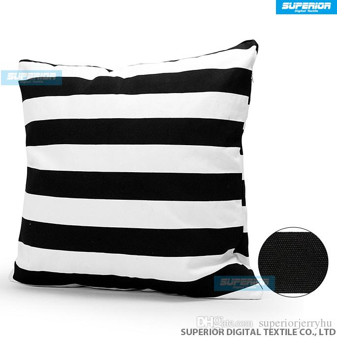 Decorative Cotton Canvas Square Throw Pillow Cushion Cover Handmade Black and White Stripe Toss Pillowcase with Hidden Zipper
