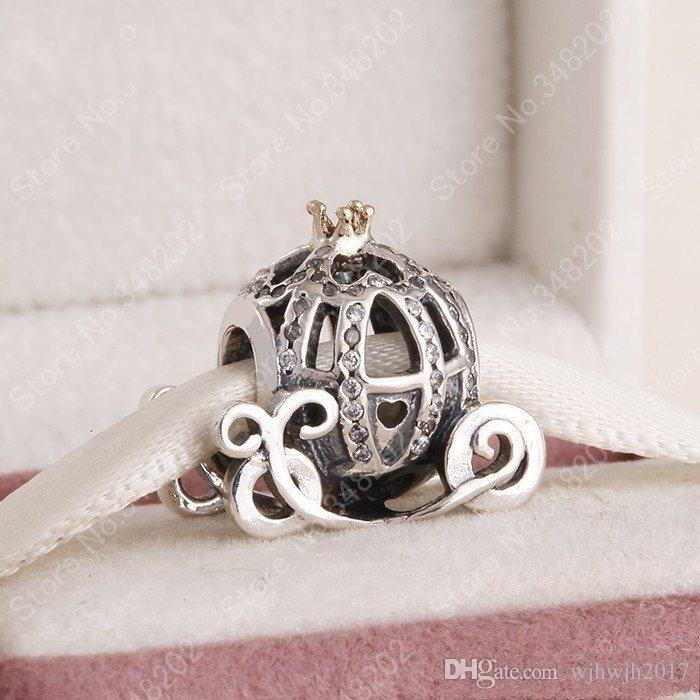 Otantik 925 Gümüş Külkedisi Kabak Charm Boncuklar Altın Kaplama Kristal Rhinestone Kabak Boncuk Charm Bilezikler DIY Takı uyar