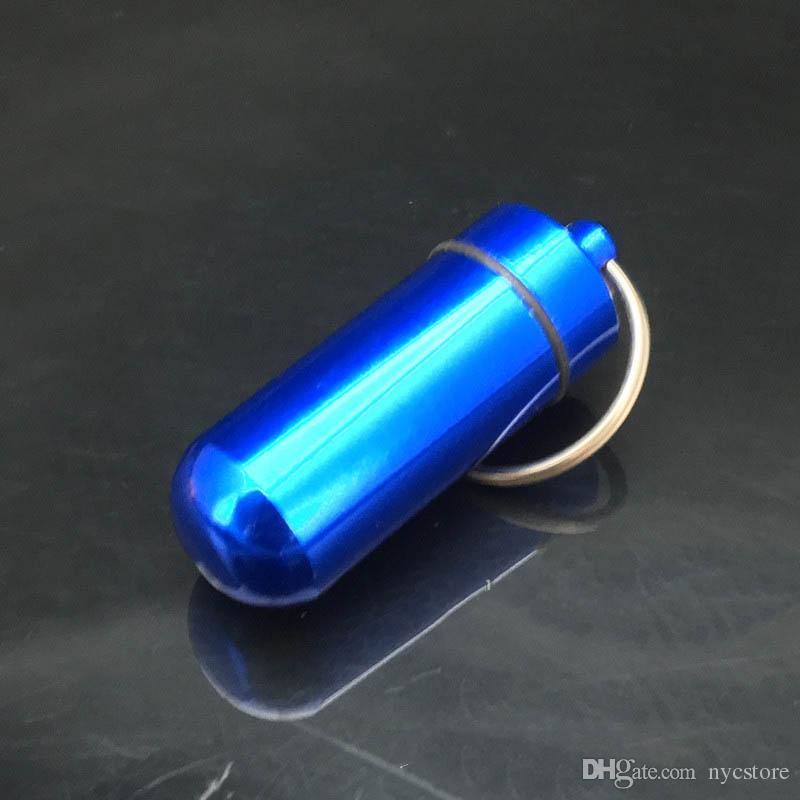 DHL Viagem liga de alumínio Caixa de Comprimidos À Prova D 'Água Caixa de Pílula chaveiro Chave De Armazenamento De Medicina Organizador Recipiente Titular KeyChain 15x48mm