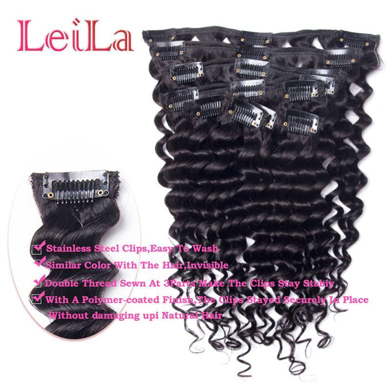 Peruvian Virgin Hair Clip In Hair Extensions Deep Wave Curly Malaysian 70-120g Full Head One Set Hair Weft
