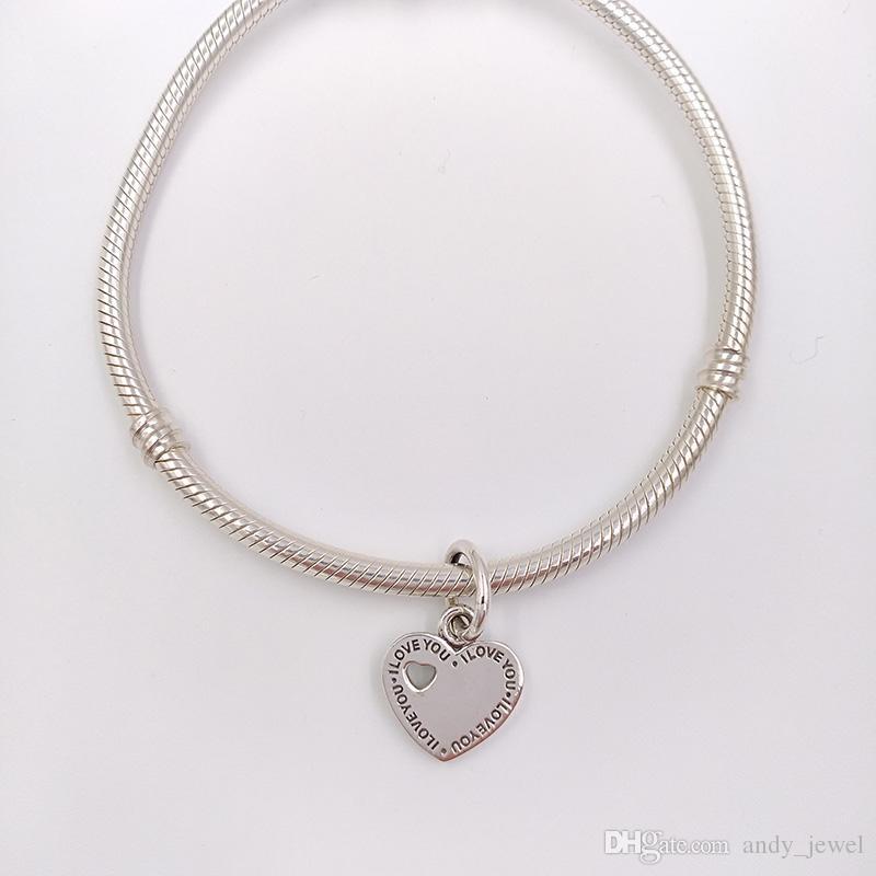 Regalo di San Valentino 925 perline d'argento insieme sempre il ciondolo fascino si adatta ai braccialetti di gioielli in stile Pandora europeo collana 791430 tu ed io