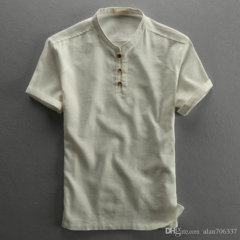 99ea6865c Men's Cotton Linen Shirts Pullover Short Sleeve Summer Shirts Chinese Style  Fashion Shirts Male Clothing Slim FitAsian Size TS-191