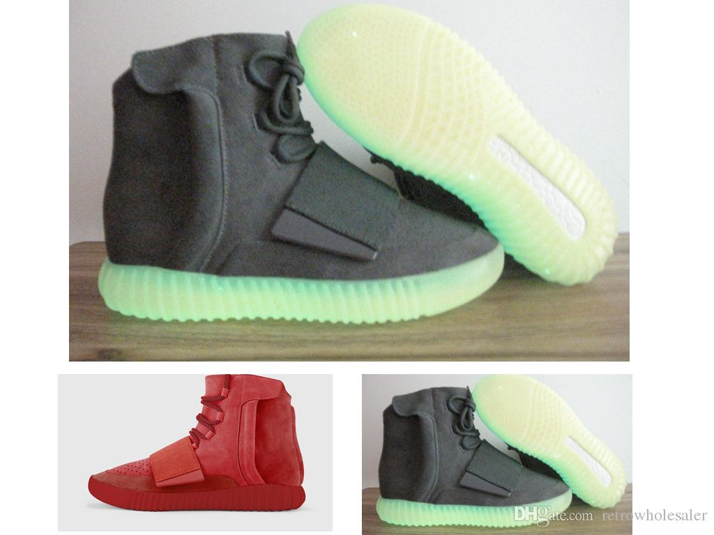 4a364722b28 Hot Originals Red October Boost 750 Kanye West Shoes Light Grey Glow ...
