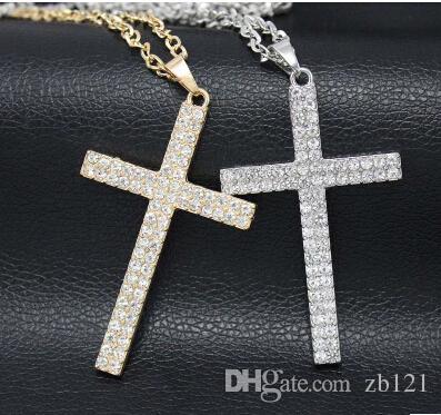 cd8cd5920c301 Acheter Gros 18 K Plaqué Argent Plaqué Big Cross Pendentif Chaîne Colliers  Pendentifs Hip Hop Bijoux Pour Hommes Femmes 2018 Designer De $20.31 Du  Zb121 ...