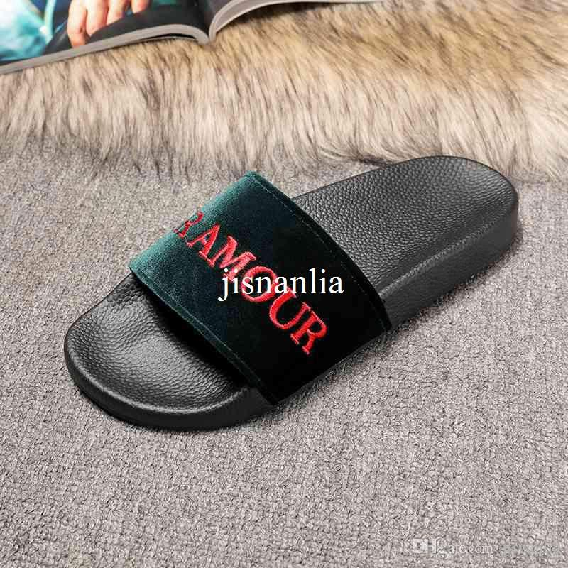 5adf31f6e7427 2017 New Arrival Mens And Womens Fashion Velvet Slide Sandal with  Embroidered Lettering Size Euro 35-44 Mens Slide Sandals Womens Slide  Sandals Mens Sliders ...