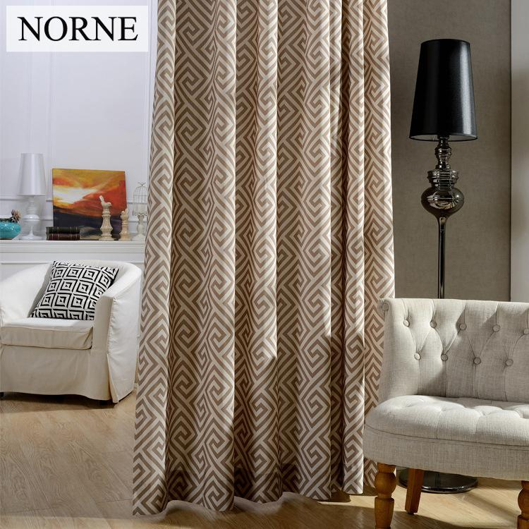 2018 Norne Blackout Curtains For BedroomThermal InsulatedPrivacy AssuredModern Geometry Printed Window Curtain Living RoomOne Panel