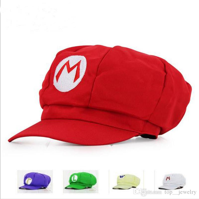 DHL 2017 New Adult Cartoon Super Mario Hats Cosplay Fashion Costume Casquettes Baseball Casquettes Sneaker Hip Hop Berets Hat GD-H01