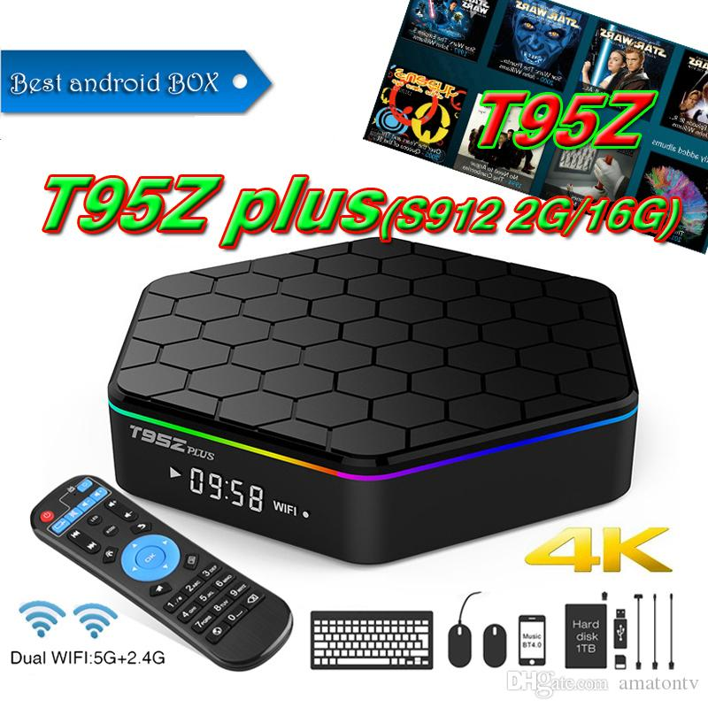 2018 Best selling Luxury IPTV BOX T95Z Plus Octa Core S912 2GB 16GB Android  7 1 TV 5GHz Dual band WiFi Bluetooth 4 0 Better TX3 X96 MINI