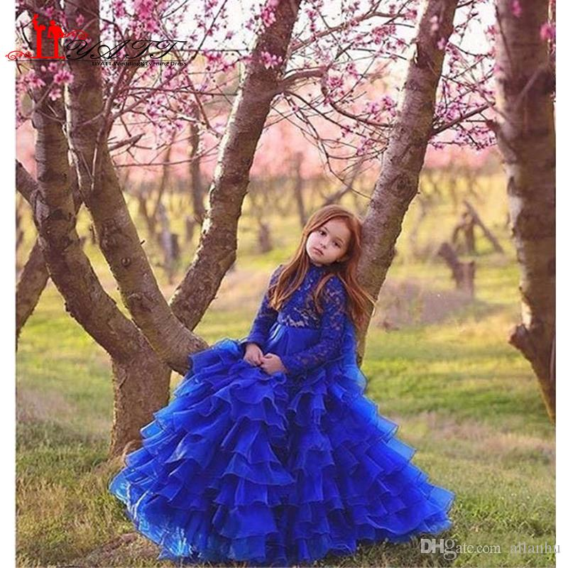 Royal Blue Glitz Girls Pageant Dresses 2017 Ball Gown High Neck Long Sleeves Lace Tiered Organza Ruffles Cupcake Flower Dress For Girls