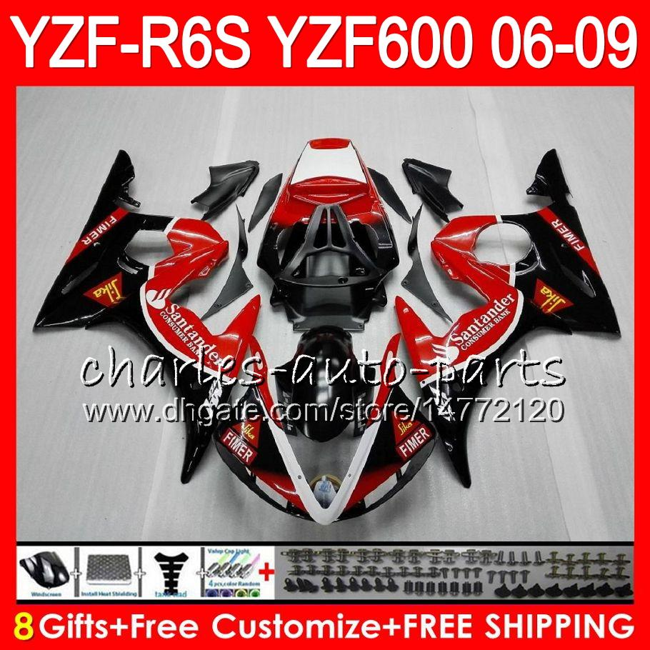 8Gifts Body For YAMAHA YZF R6 S YZFR6S 06 07 08 09 57HM20 YZF600 Santander YZF R6S 06-09 YZF-R6S 2006 2007 2008 2009 Fairing kit