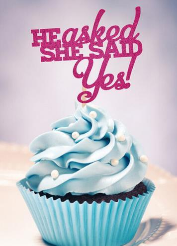 Glitter He Asked She Said Yes Cupcake Toppers Bridal Shower Bachelorette Decorations Engagement Party Wedding Supplies Food Picks 50th Birthday