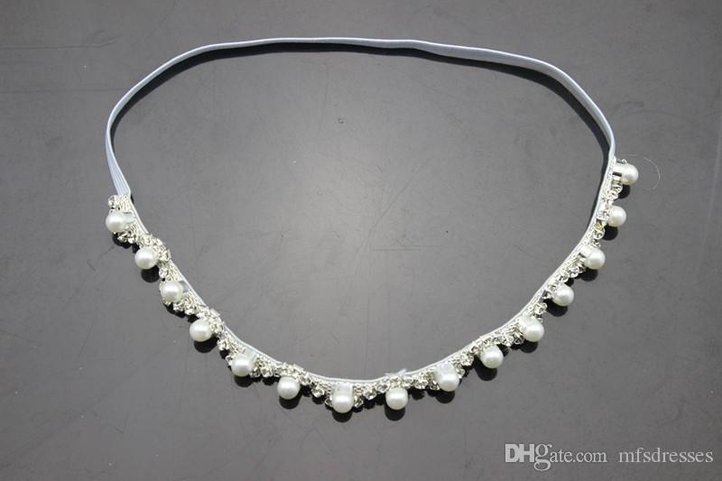 Perle di bambine con fasce elastiche Cerchietto di perle di cristallo neonato Infantil Puntelli fotografati Bebe Regalo di compleanno