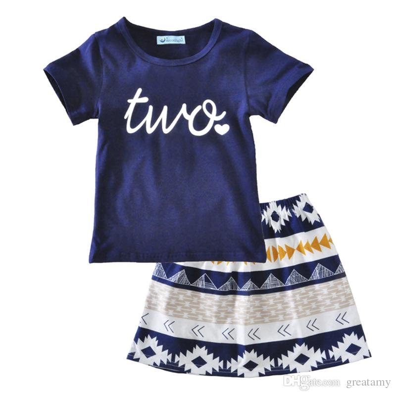 New summer two piece suit baby Leisure suit letter two Love Short sleeve T-shirt Short sleeve +Geometric pattern short skirt two pieces