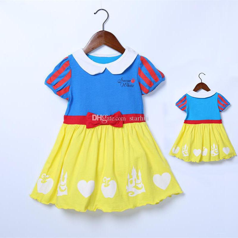 9ff2d9021e Newest Baby Girls Cotton Dress Snow White Printed Princess Dresses Short  Sleeves Summer Kids Clothing Free Shipping WX-D35