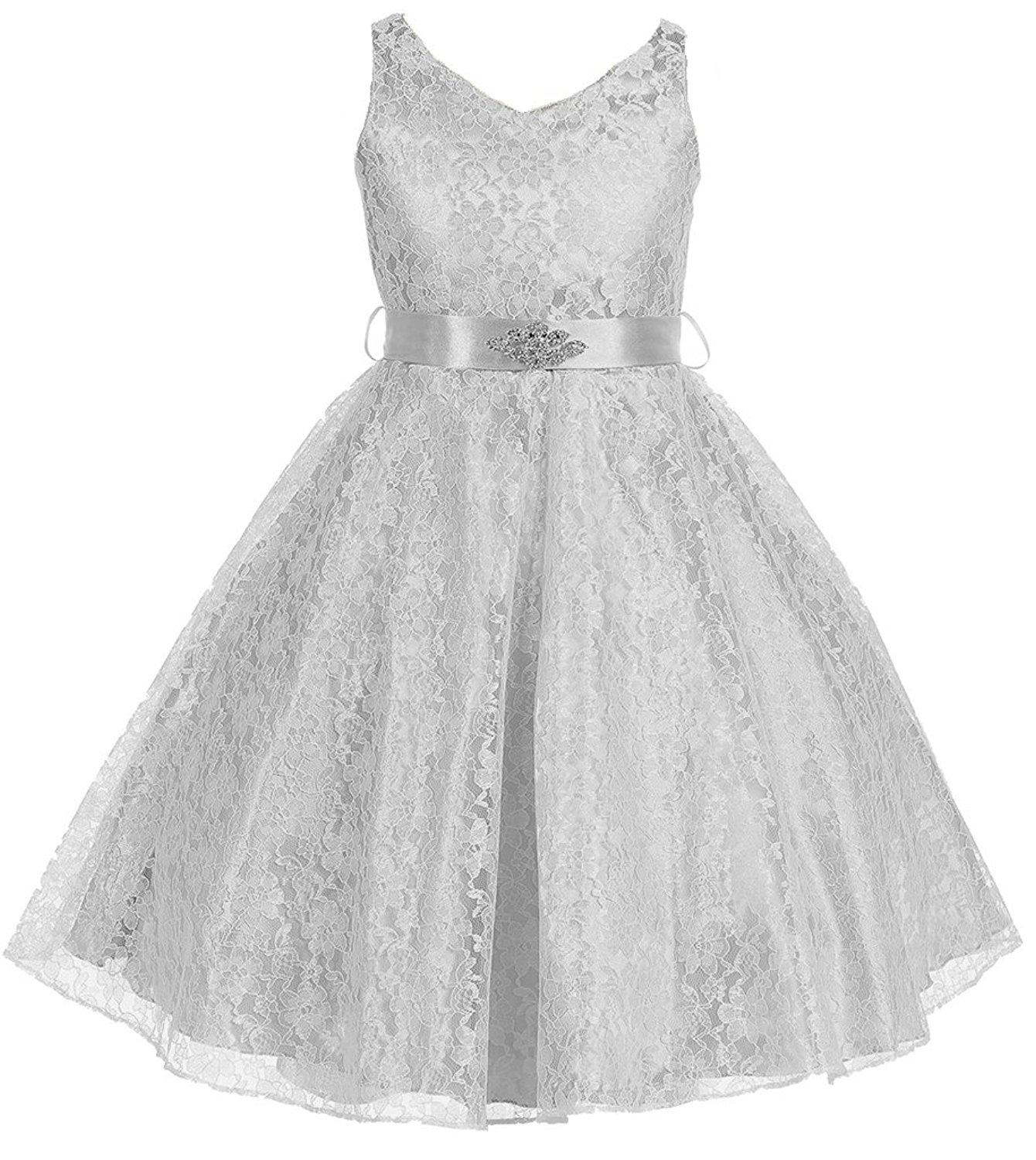 Akidress Lace Floral Pattern Flower Girl Dress For Little Girl